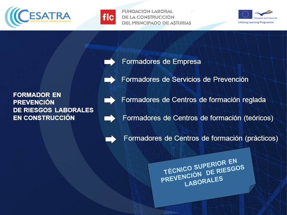FORMADOR EN PREVENCIÓN DE RIESGOS LABORALES EN CONSTRUCCIÓN Formadores de Empresa Formadores de Servicios de Prevención Formadores de Centros de forma