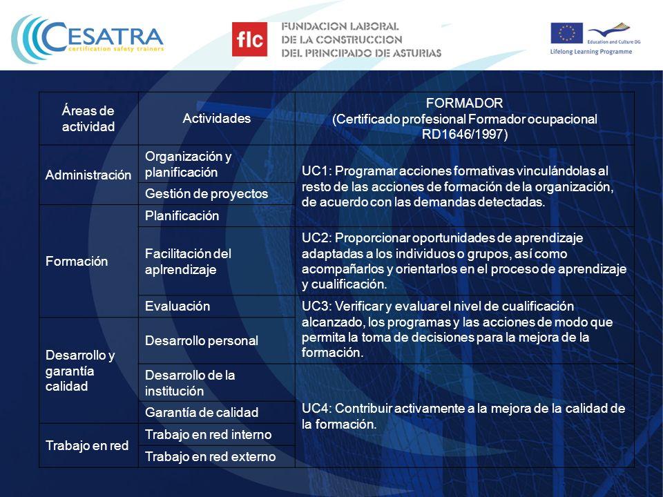 Áreas de actividad Actividades FORMADOR EN PREVENCIÓN (NIVEL INTERMEDIO) (Reglamento Servicios de Prevención RD30/1997) FORMADOR EN PREVENCIÓN (NIVEL SUPERIOR) (Reglamento Servicios de Prevención RD30/1997) Formación en normativa para la seguridad y salud de los trabajadores Formación en normativa europea para la seguridad y salud de los trabajadores Formación en normativa nacional de cada país de la UE para la seguridad y salud de los trabajadores 1.