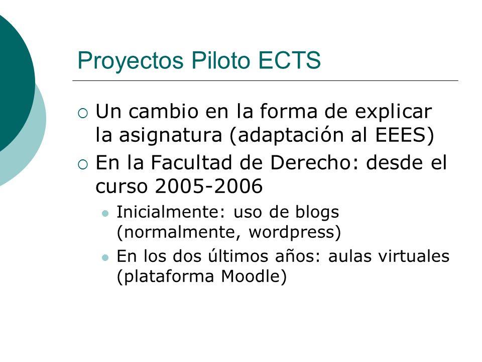 Proyectos Piloto ECTS Un cambio en la forma de explicar la asignatura (adaptación al EEES) En la Facultad de Derecho: desde el curso 2005-2006 Inicialmente: uso de blogs (normalmente, wordpress) En los dos últimos años: aulas virtuales (plataforma Moodle)