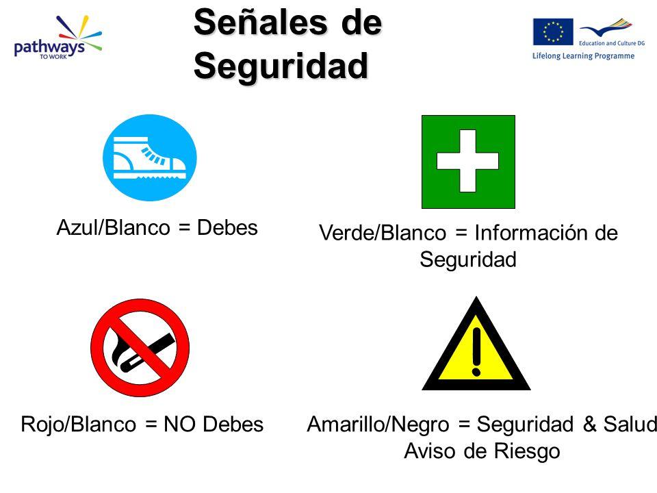 ! Azul/Blanco = Debes Rojo/Blanco = NO Debes Verde/Blanco = Información de Seguridad Amarillo/Negro = Seguridad & Salud Aviso de Riesgo Señales de Seguridad