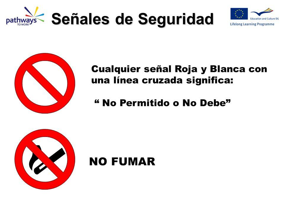 ! Azul/Blanco = Debes Rojo/Blanco = NO Debes Verde/Blanco = Información de Seguridad Amarillo/Negro = Seguridad & Salud Aviso de Riesgo Señales de Seg