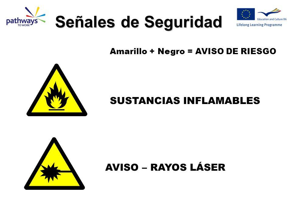 SUSTANCIAS INFLAMABLES AVISO – RAYOS LÁSER Amarillo + Negro = AVISO DE RIESGO