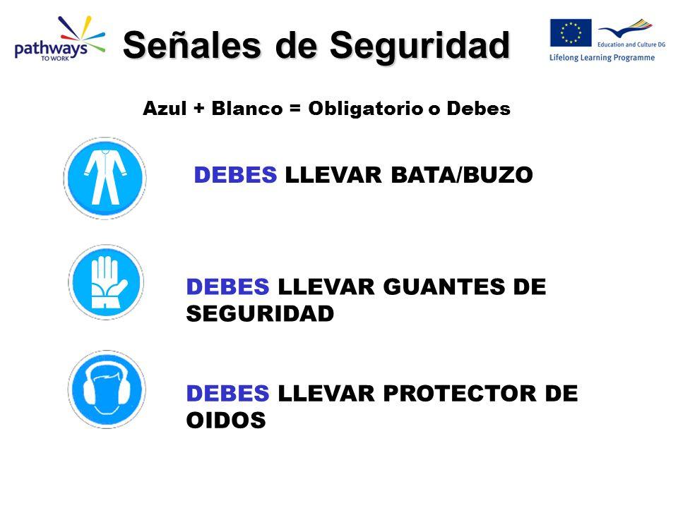 DEBES LLEVAR BATA/BUZO DEBES LLEVAR GUANTES DE SEGURIDAD DEBES LLEVAR PROTECTOR DE OIDOS Señales de Seguridad Azul + Blanco = Obligatorio o Debes