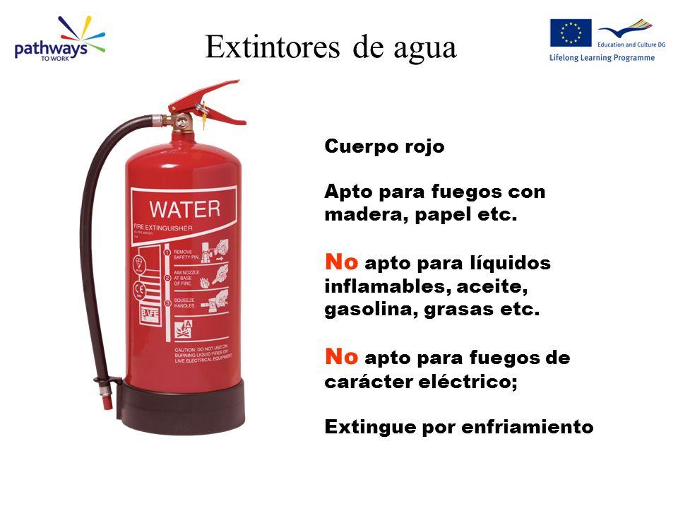 Extintores de agua Cuerpo rojo Apto para fuegos con madera, papel etc.