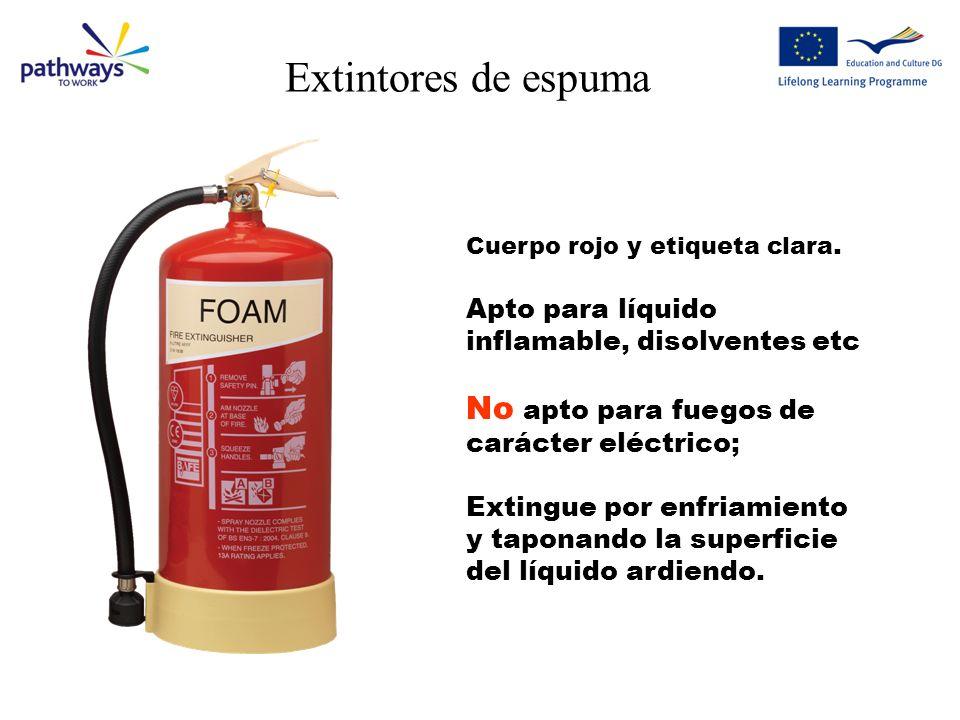 Extintores de agua Cuerpo rojo Apto para fuegos con madera, papel etc. No apto para líquidos inflamables, aceite, gasolina, grasas etc. No apto para f
