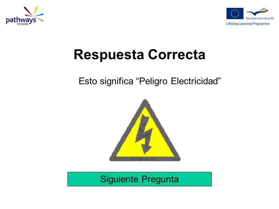 Siguiente Pregunta Esto significa Peligro Electricidad Respuesta Correcta