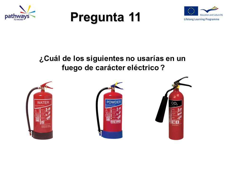 ¿Cuál de los siguientes no usarías en un fuego de carácter eléctrico ? Pregunta 11