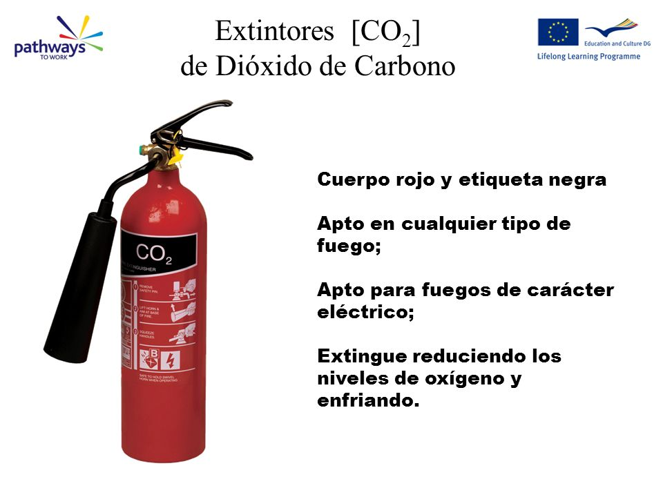 Extintores [CO 2 ] de Dióxido de Carbono Cuerpo rojo y etiqueta negra Apto en cualquier tipo de fuego; Apto para fuegos de carácter eléctrico; Extingue reduciendo los niveles de oxígeno y enfriando.