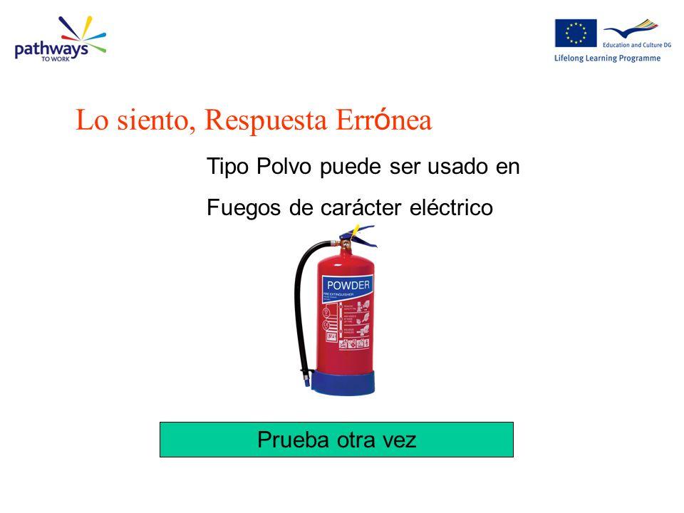 Lo siento, Respuesta Err ó nea Tipo Polvo puede ser usado en Fuegos de carácter eléctrico Prueba otra vez