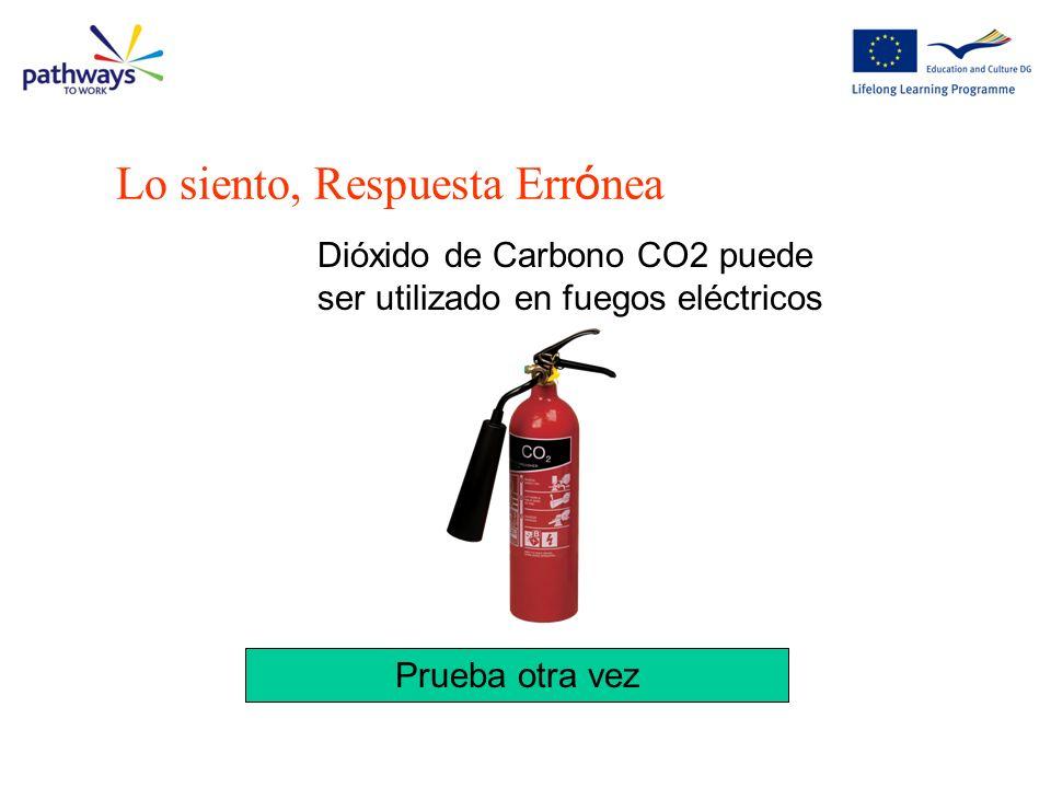 Lo siento, Respuesta Err ó nea Dióxido de Carbono CO2 puede ser utilizado en fuegos eléctricos Prueba otra vez