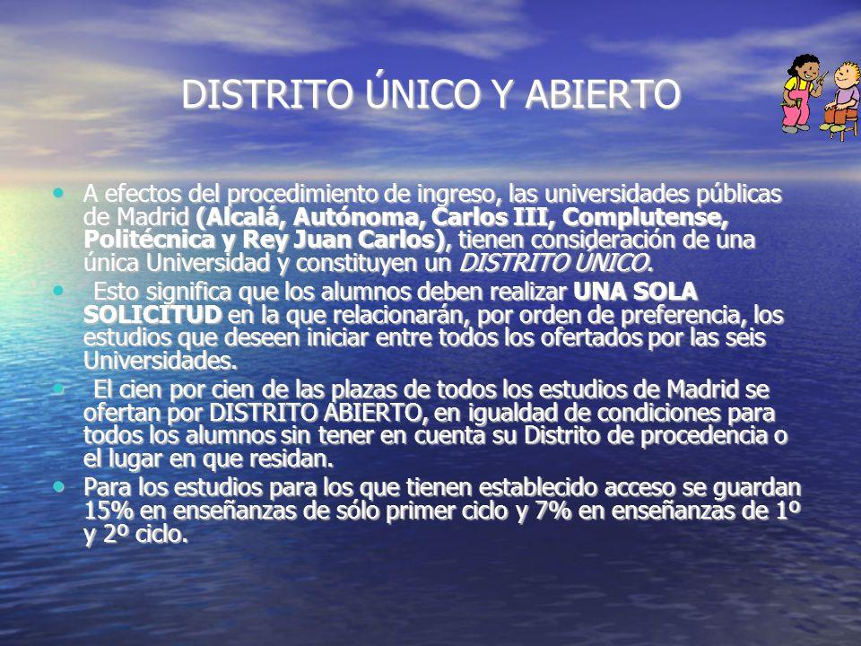 DISTRITO ÚNICO Y ABIERTO A efectos del procedimiento de ingreso, las universidades públicas de Madrid (Alcalá, Autónoma, Carlos III, Complutense, Poli