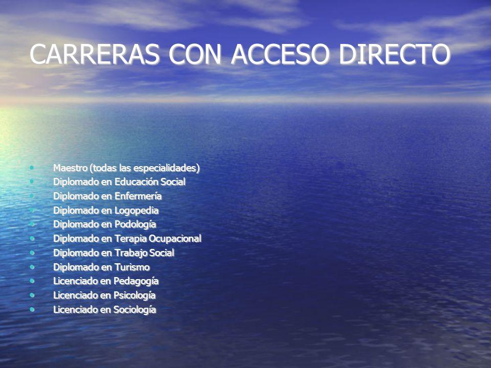 CARRERAS CON ACCESO DIRECTO Maestro (todas las especialidades) Maestro (todas las especialidades) Diplomado en Educación Social Diplomado en Educación