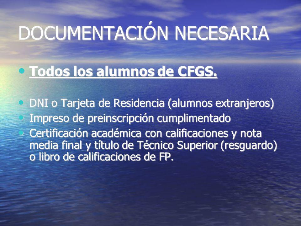 DOCUMENTACIÓN NECESARIA Todos los alumnos de CFGS. Todos los alumnos de CFGS. DNI o Tarjeta de Residencia (alumnos extranjeros) DNI o Tarjeta de Resid
