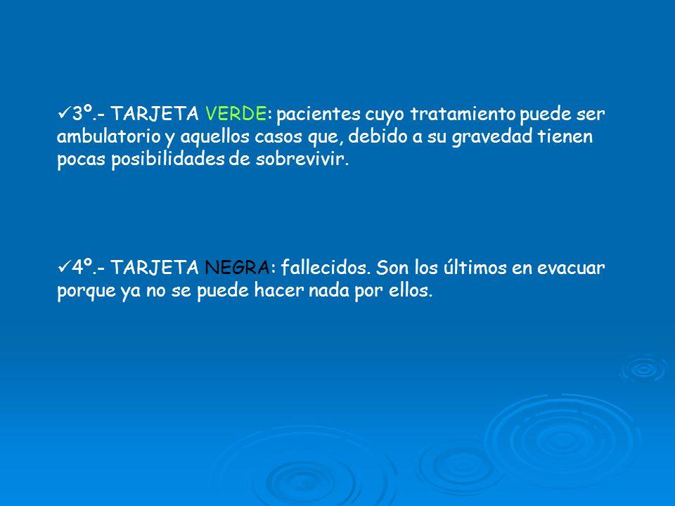 3º.- TARJETA VERDE: pacientes cuyo tratamiento puede ser ambulatorio y aquellos casos que, debido a su gravedad tienen pocas posibilidades de sobreviv