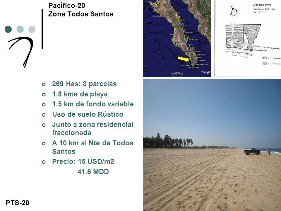 269 Has: 3 parcelas 1.8 kms de playa 1.5 km de fondo variable Uso de suelo Rústico Junto a zona residencial fraccionada A 10 km al Nte de Todos Santos Precio: 15 USD/m2 41.6 MDD Pacífico-20 Zona Todos Santos PTS-20