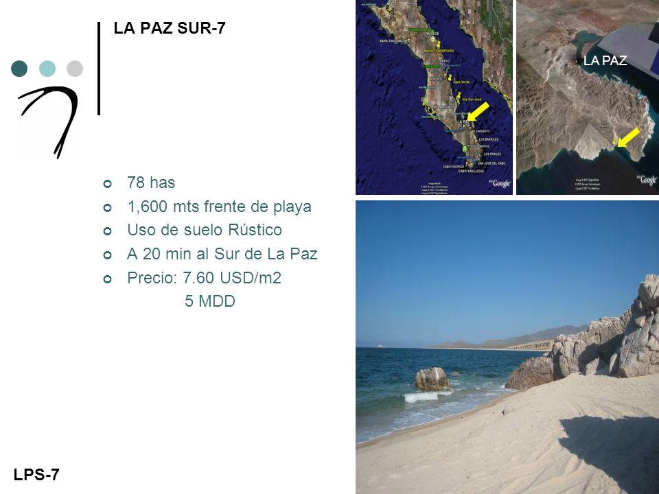 LA PAZ SUR-7 78 has 1,600 mts frente de playa Uso de suelo Rústico A 20 min al Sur de La Paz Precio: 7.60 USD/m2 5 MDD LPS-7 LA PAZ