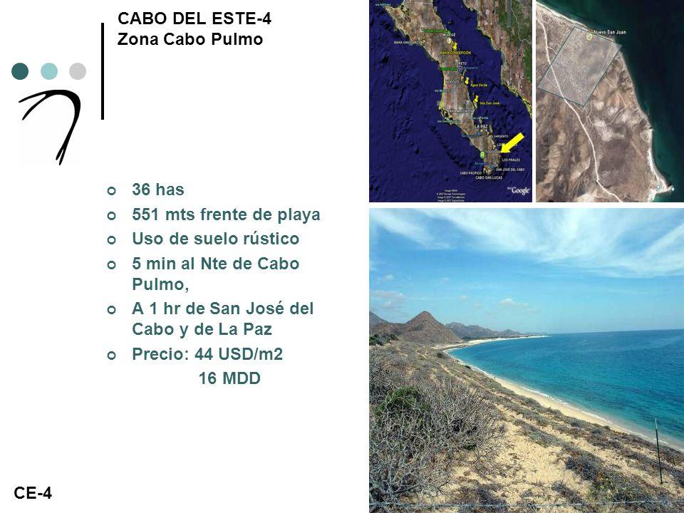 CABO DEL ESTE-5 Zona San José 96 has (4 parcelas) 348 mts frente de playa 2.8 kms de fondo Uso de suelo rústico A 25 kms de Puerto Los Cabos Precio: 27 USD/m2 25.5 MDD CE-5