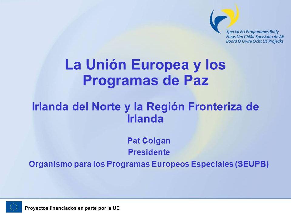 Proyectos financiados en parte por la UE Introducción (1) Quince años de programas europeos de paz en Irlanda Las lecciones aprendidas Compartir con otros Continuar a aprender Una red europea de regiones y ciudades que han experimentado conflicto, interesadas en compartir experiencias Vengo en busca de socios y ´partners´