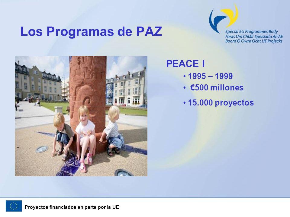 Proyectos financiados en parte por la UE Los Programas de PAZ PEACE I 1995 – 1999 500 millones 15.000 proyectos