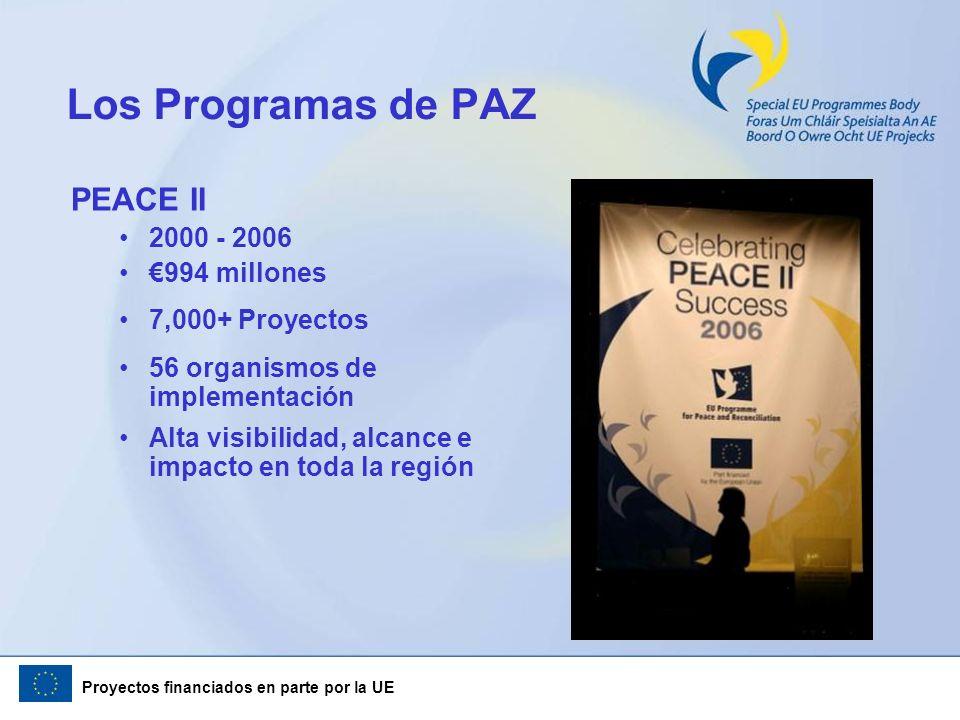 Proyectos financiados en parte por la UE Los Programas de PAZ PEACE II 2000 - 2006 994 millones 7,000+ Proyectos 56 organismos de implementación Alta