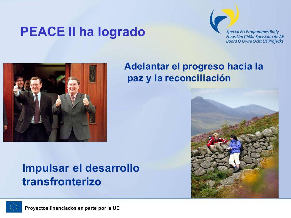 Proyectos financiados en parte por la UE PEACE II ha logrado Adelantar el progreso hacia la paz y la reconciliación Impulsar el desarrollo transfronte