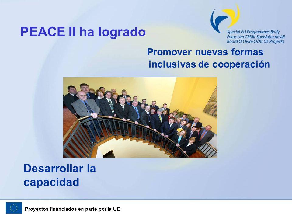 Proyectos financiados en parte por la UE PEACE II ha logrado Promover nuevas formas inclusivas de cooperación Desarrollar la capacidad