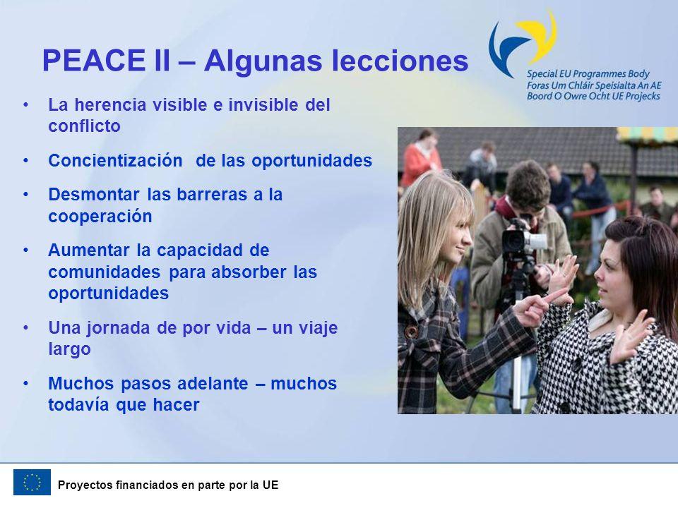 Proyectos financiados en parte por la UE La herencia visible e invisible del conflicto Concientización de las oportunidades Desmontar las barreras a l