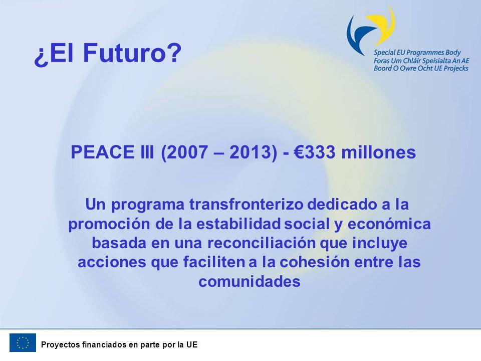 Proyectos financiados en parte por la UE ¿El Futuro? PEACE III (2007 – 2013) - 333 millones Un programa transfronterizo dedicado a la promoción de la