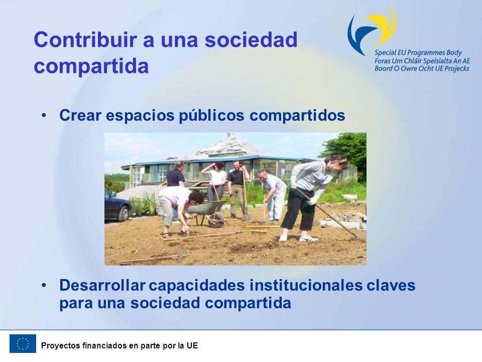 Proyectos financiados en parte por la UE Contribuir a una sociedad compartida Crear espacios públicos compartidos Desarrollar capacidades instituciona