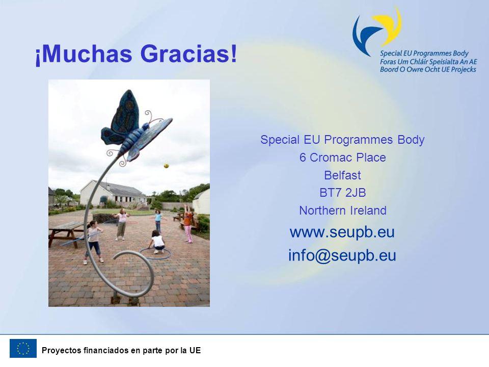 Proyectos financiados en parte por la UE ¡Muchas Gracias! Special EU Programmes Body 6 Cromac Place Belfast BT7 2JB Northern Ireland www.seupb.eu info