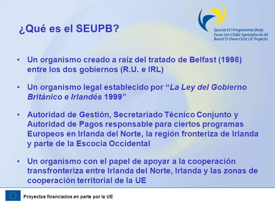 Proyectos financiados en parte por la UE ¿Qué es el SEUPB? Un organismo creado a raíz del tratado de Belfast (1998) entre los dos gobiernos (R.U. e IR