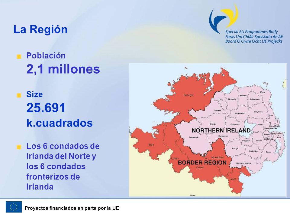 Proyectos financiados en parte por la UE Población 2,1 millones Size 25.691 k.cuadrados Los 6 condados de Irlanda del Norte y los 6 condados fronteriz