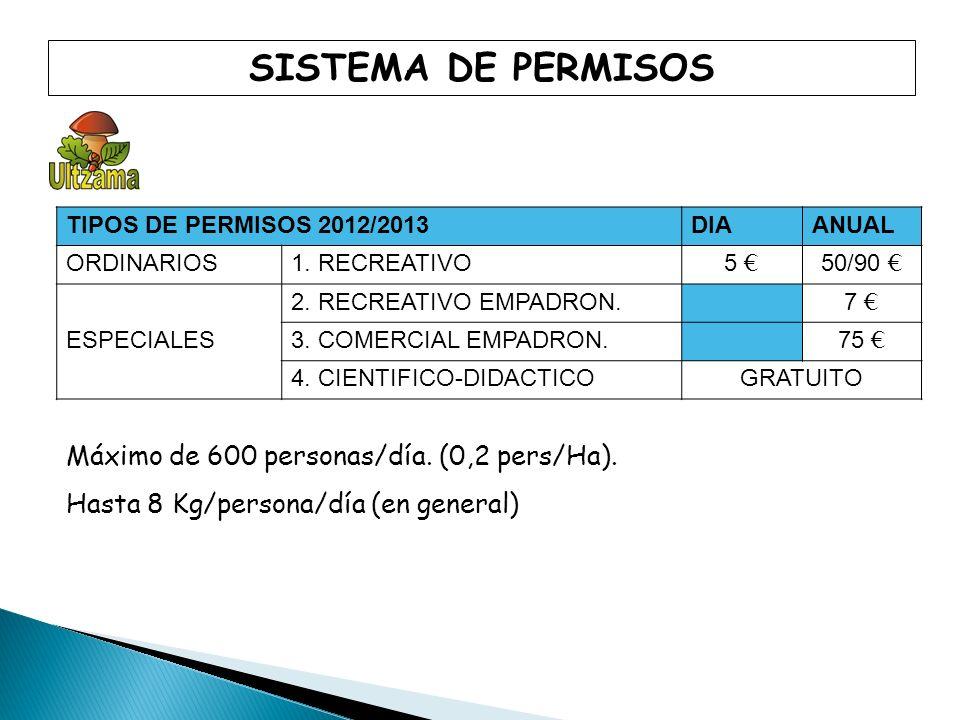TIPOS DE PERMISOS 2012/2013 DIAANUAL ORDINARIOS1. RECREATIVO 5 50/90 ESPECIALES 2. RECREATIVO EMPADRON. 7 3. COMERCIAL EMPADRON. 75 4. CIENTIFICO-DIDA