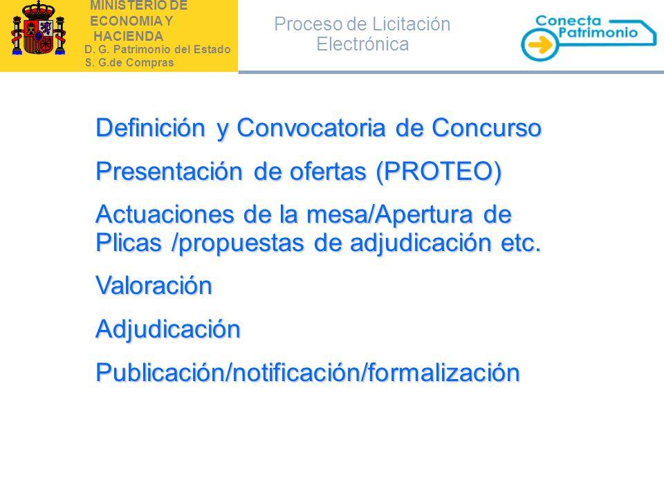 MINISTERIO DE ECONOMIA Y HACIENDA D. G. Patrimonio del Estado S. G.de Compras Definición y Convocatoria de Concurso Presentación de ofertas (PROTEO) A
