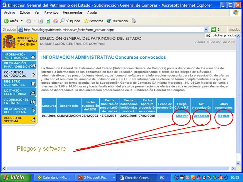 MINISTERIO DE ECONOMIA Y HACIENDA D. G. Patrimonio del Estado S. G.de Compras Pliegos y software