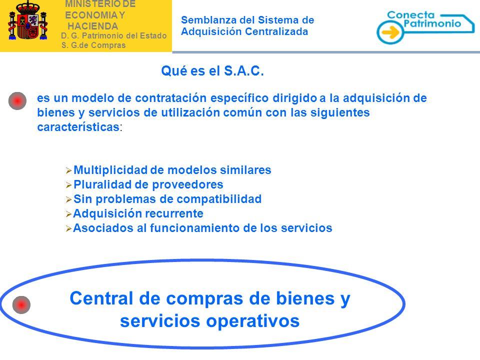 MINISTERIO DE ECONOMIA Y HACIENDA D. G. Patrimonio del Estado S. G.de Compras Semblanza del Sistema de Adquisición Centralizada es un modelo de contra