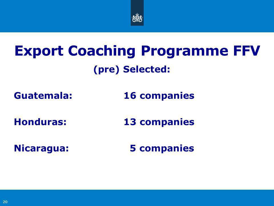 20 (pre) Selected: Guatemala:16 companies Honduras:13 companies Nicaragua: 5 companies Export Coaching Programme FFV