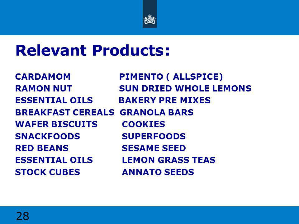 Relevant Products: CARDAMOM PIMENTO ( ALLSPICE) RAMON NUT SUN DRIED WHOLE LEMONS ESSENTIAL OILS BAKERY PRE MIXES BREAKFAST CEREALS GRANOLA BARS WAFER BISCUITS COOKIES SNACKFOODS SUPERFOODS RED BEANS SESAME SEED ESSENTIAL OILS LEMON GRASS TEAS STOCK CUBES ANNATO SEEDS 28