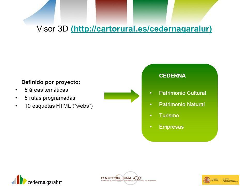 Visor 3D (http://cartorural.es/cedernagaralur)(http://cartorural.es/cedernagaralur) Definido por proyecto: 5 áreas temáticas 5 rutas programadas 19 et