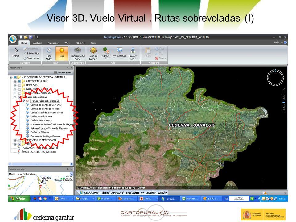 Visor 3D. Vuelo Virtual. Rutas sobrevoladas (I)