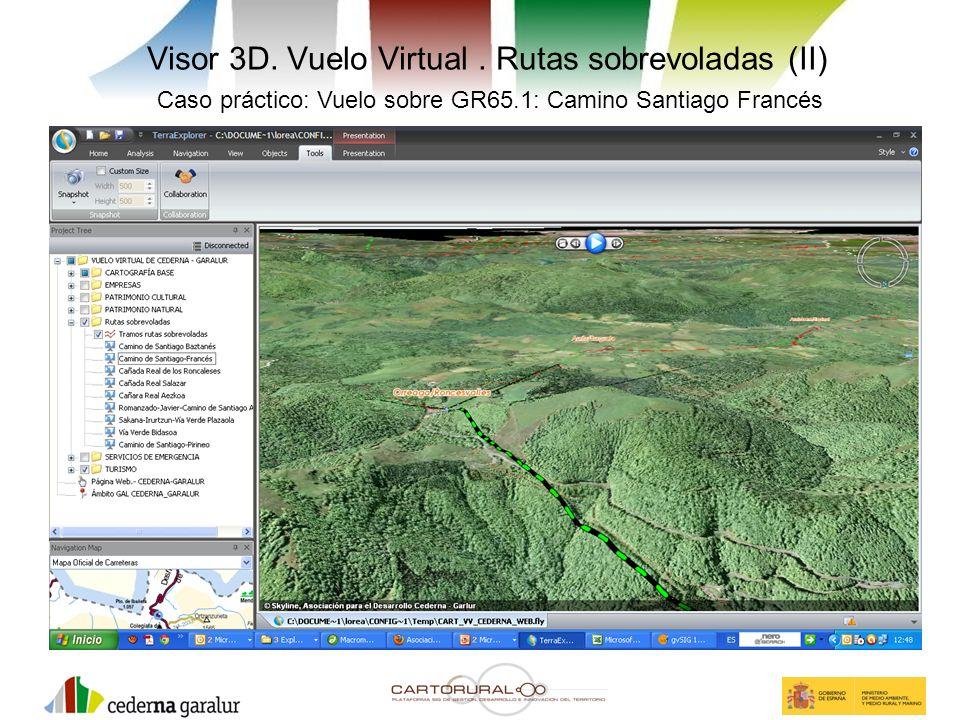 Visor 3D. Vuelo Virtual. Rutas sobrevoladas (II) Caso práctico: Vuelo sobre GR65.1: Camino Santiago Francés