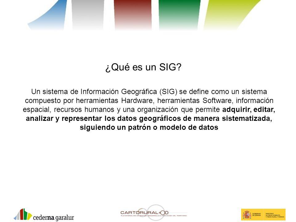 ¿Qué es un SIG? Un sistema de Información Geográfica (SIG) se define como un sistema compuesto por herramientas Hardware, herramientas Software, infor