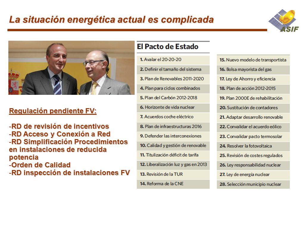 La situación energética actual es complicada Regulación pendiente FV: -RD de revisión de incentivos -RD Acceso y Conexión a Red -RD Simplificación Pro