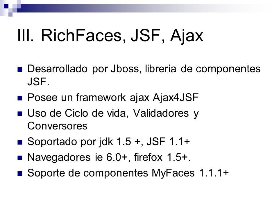 III. RichFaces, JSF, Ajax Desarrollado por Jboss, libreria de componentes JSF. Posee un framework ajax Ajax4JSF Uso de Ciclo de vida, Validadores y Co