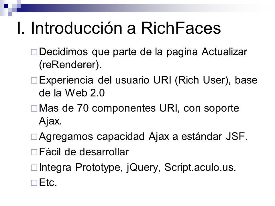 I. Introducción a RichFaces Decidimos que parte de la pagina Actualizar (reRenderer). Experiencia del usuario URI (Rich User), base de la Web 2.0 Mas