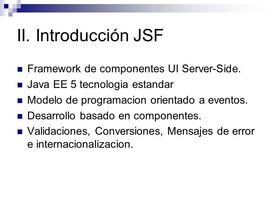 II. Introducción JSF Framework de componentes UI Server-Side. Java EE 5 tecnologia estandar Modelo de programacion orientado a eventos. Desarrollo bas