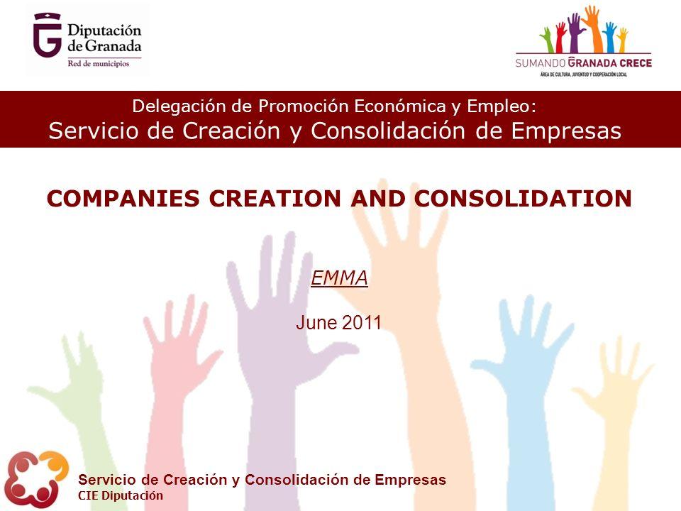 Delegación de Promoción Económica y Empleo: Servicio de Creación y Consolidación de Empresas CIE Diputación COMPANIES CREATION AND CONSOLIDATION EMMA June 2011