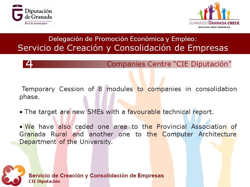 Delegación de Promoción Económica y Empleo: Servicio de Creación y Consolidación de Empresas CIE Diputación Companies Centre CIE Diputación 4 Temporary Cession of 8 modules to companies in consolidation phase.