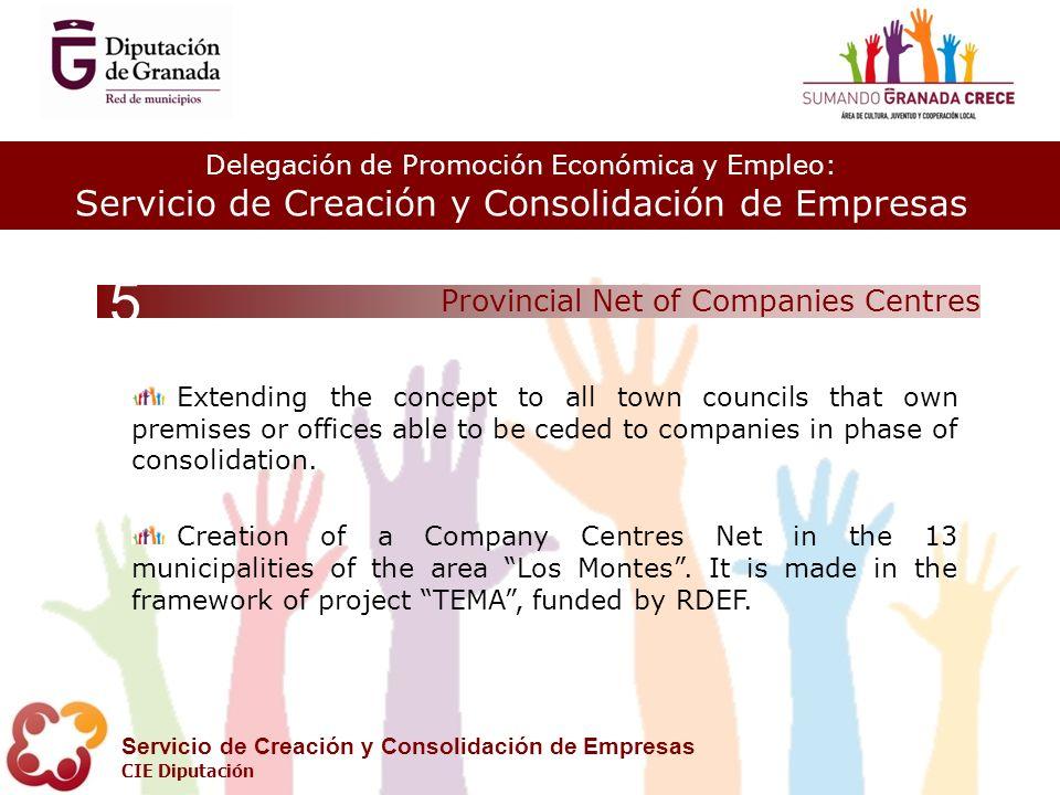 Delegación de Promoción Económica y Empleo: Servicio de Creación y Consolidación de Empresas CIE Diputación Provincial Net of Companies Centres 5