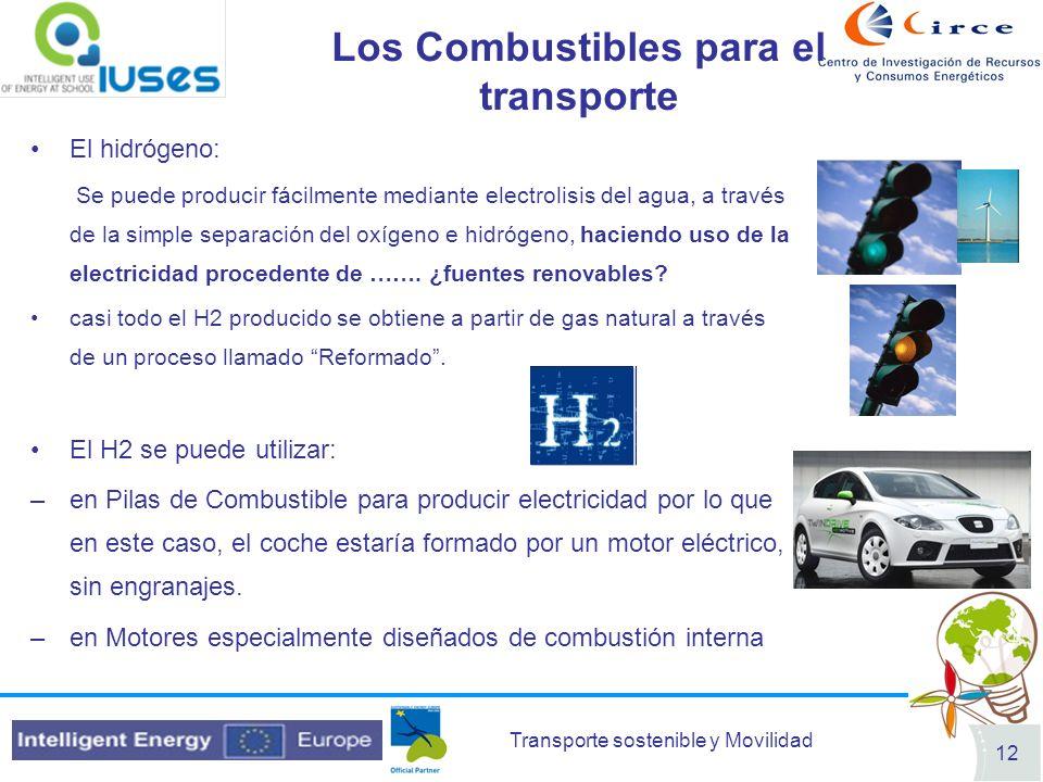 Transporte sostenible y Movilidad 12 Los Combustibles para el transporte El hidrógeno: Se puede producir fácilmente mediante electrolisis del agua, a